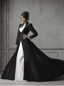 Gothic Black Long Sleeves Coat White Wedding Dress