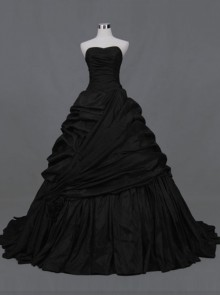 Gothic Ball Gown Black Taffeta Wedding Dress