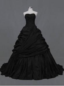 Gothic Ball Gown Black Taffeta Wedding Dress
