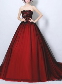 Gothic Black Lace Embroidery Wine Red Wedding Dress