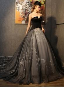 Gothic Romantic Black Tulle Floral Wedding Dress