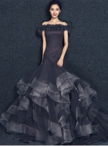 Gothic Concise Gray Off Shoulder Fish Tail Wedding Dress