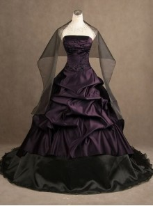 Gothic Purple Strapless Wedding Dress