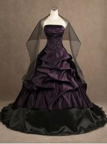 Gothic Purple Strapless Wedding Dress