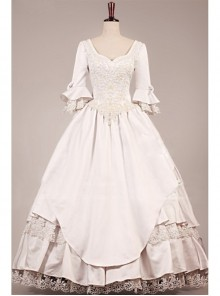 Retro Rice White Lace Embroidery Victorian Wedding Dress